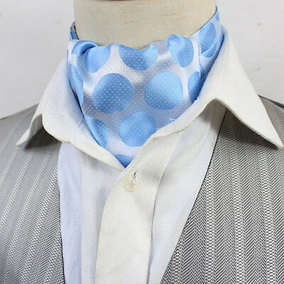 9753a50ba5f0 LJ04-30 Baby Blue Mens Stain Silk Ascot Tie Cravat Self Tied Polka dots Ties