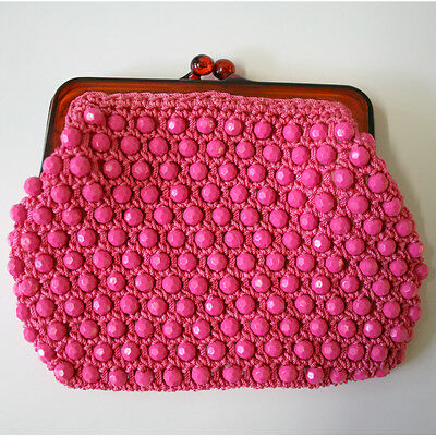 Vintage 1960s Lanza Pink Beaded Coin Purse Made In Italy