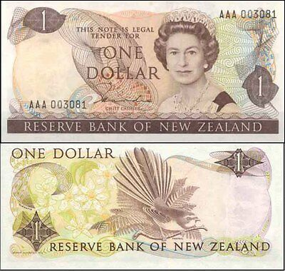 New Zealand 1st Prefix  $1 AAA 00 Hardie QE2 Redesign Paper Banknote Issue p169a