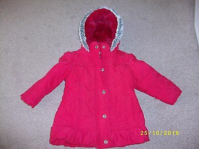Girl's Red Fur Hooded Winter Coat Age 2-3 Years From Marks and Spencer