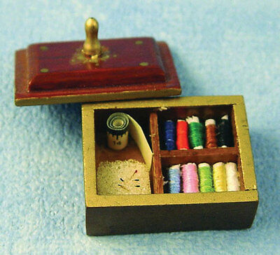 1:12th Scale  Sewing Box. Dolls House Miniature Sewing Room