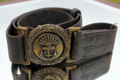 P&o Line Early Victorian Officer Or Crew Leather Belt & Bronze Buckle 1880's