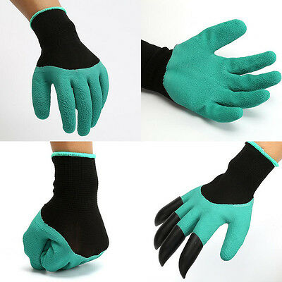 Set of 2 Rubber+Polyester Safety Work Gloves Builders Grip Gardening Dig