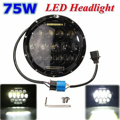 75W 7''Moto HID LED Headlight H4-H14 Phare Projecteur Pr Harley Jeep Land Rover
