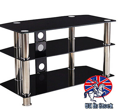 Black Glass TV Stand Media Entertainment Unit HiFi Stainless Steel Table