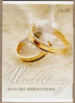 2008 AUST STAMP BOOKLET FOR EVERY OCCASION WEDDING GOLD RINGS 10x 55c STAMPS MUH