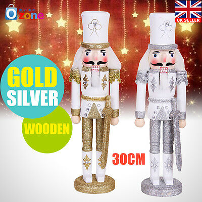 30cm Wooden Christmas Nutcracker Holding Staff Xmas Ornaments Decor Gold/Silver