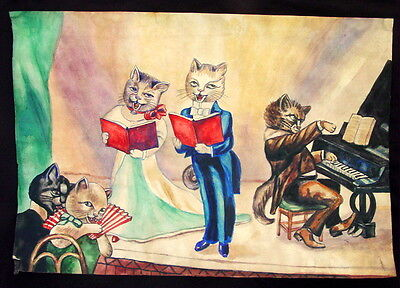Antique Original Russian Watercolor Painting CATS Singing and Playing Piano