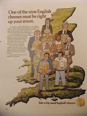 1974 Advert....england's Cheeses....take A Trip Round England's Cheeses.