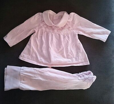mayoral baby girl pink top and footed pants outfit 2-4 months