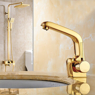 Gold Finish Brass 8 Inch Round Rain Shower Set Faucet with Hand Spray Mixer Tap