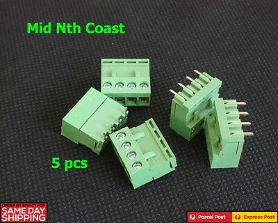 5Pcs Right Angle 4-Pin PCB Mount Screw Connector 5.08mm Pitch W. Socket 300V 10A