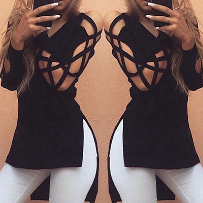 Womens Casual Long Sleeve Tops Loose Hollow Blouse Ladies Fashion Lace T Shirt