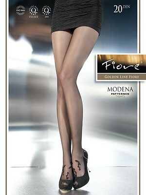 Modena sheer pantyhose Fiore BLACK size LARGE 20 den floral tights
