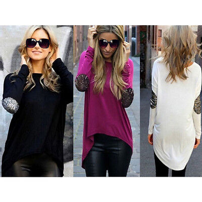 Fashion Womens Ladies Long Sleeve T Shirt Blouse Top Casual Loose Tops Size 8-14