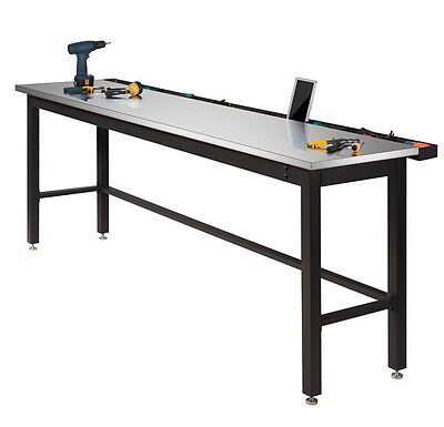 Industrial Work Bench Large Metal Table Stainless Steel Top Heavy Duty Garage