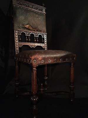 Late 19th Century Leather FRENCH RENAISSANCE Side Chair