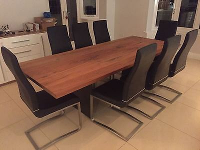 Stunning genuine solid walnut dining table and 8 chairs