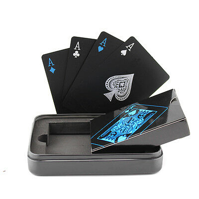 Waterproof Black Plastic Playing Cards Waterproof Poker Casino Cards with Tinbox