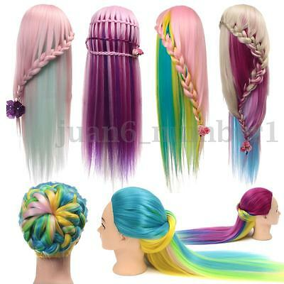 """27"""" Colorful Hair Salon Mannequin Practice Training Head Hairdressing +Clamp"""
