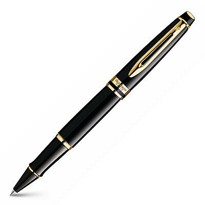 NEW Waterman Expert Black Rollerball Pen with Gold Trim