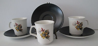 J & G MEAKIN Studio Retro Coffee / Tea Cups With Saucers Made In England Cup