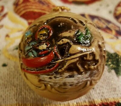 "Vintage ""christmas Carolers In Sled"" Plastic Christmas Bulb Ornament"