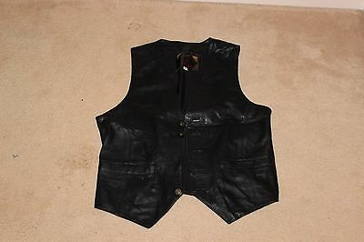 Black Real Leather Waistcoat, size S
