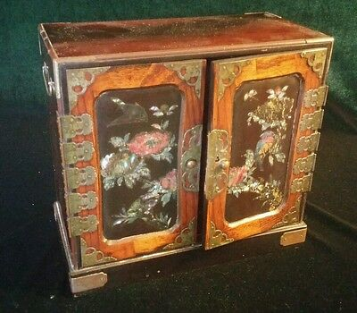 Gorgeous Japanese Mother Of Pearl & Lacquered Tansu Table Cabinet