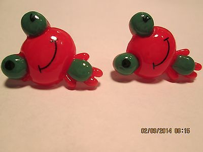 Child's Red Frog Earrings