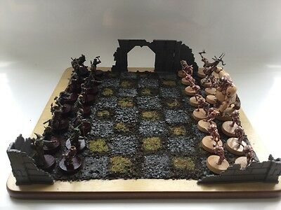 games workshop escape from goblin town custom made hand painted chess set