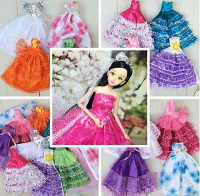 5pc Fashion Party Wedding Gown Princess Dresses Outfits Gift Toy For Barbie Doll