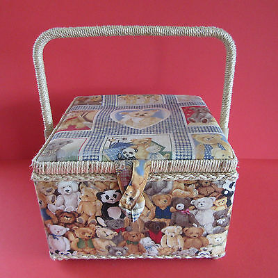 "Sewing Basket With Handle - Teddy Bear Fabric - 9"" X 9"" X 6"" Square"