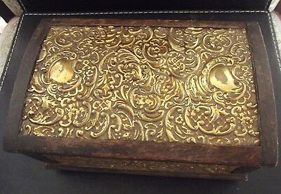 old wooden hinged  box with patterend metal inlay
