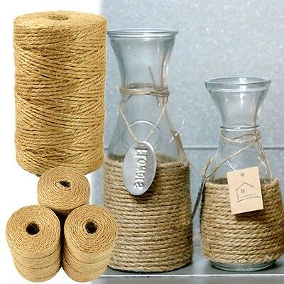 1 Roll Cylindrical Twisted Linen Rope Natural Burlap Jute Twine Hemp Cord DIY