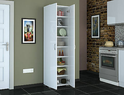 Tall 8 Shelves 183 Cm White Finish Cupboard Storage Unit Cabinet Kitchen
