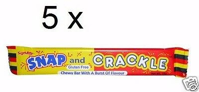 5 x Snap and Crackle chewy Lollies bars, 18g each best before 10/2016