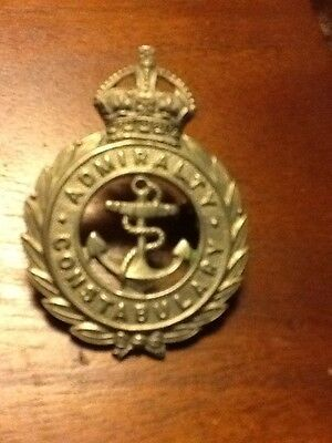 Police  Cap Badge Admiralty Constabulary Kings Crown
