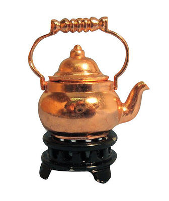 1:12th Copper Kettle On Trivet Dolls House Miniature Kitchen Drink Accessory
