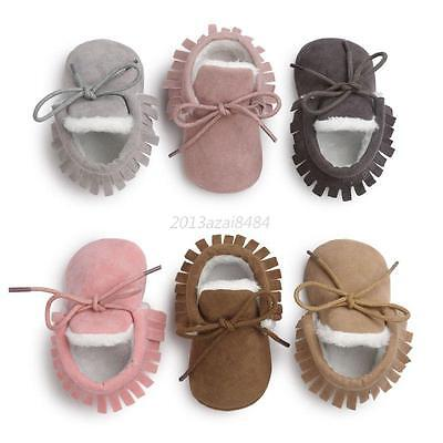 Baby Soft Sole Suede Shoes Infant Boy Girl Toddler Winter Warm Moccasin 0-18M UK