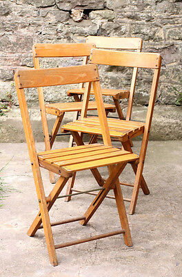 Vintage Industrial Set of 4 Wooden Folding Bistro Chairs Garden