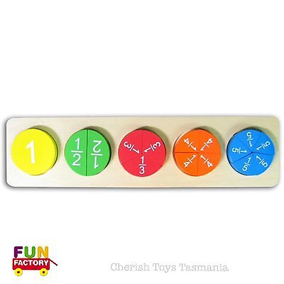 Montessori Fraction Circles Wooden Puzzle Kids Educational Math Numbers Eco Toy