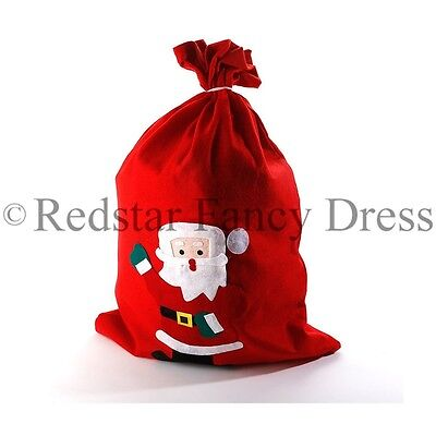 Large Red Santa Sack Classic Design Christmas Stocking Gift Bag Jute Childrens