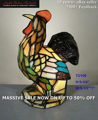 Tiffany Leadlight Stained Glass Chicken Rooster Accent Table Lamp Night Light