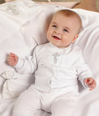 Baptism Baby Boy Outfit Handmade Christening Newborn Toddler White Clothes Gift