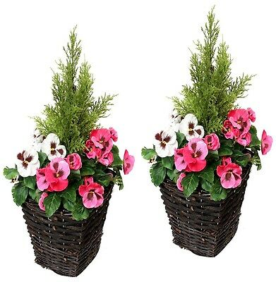 2 x Artificial Patio Planters - PINK & WHITE Pansies & Conifer/Cedar Topiary