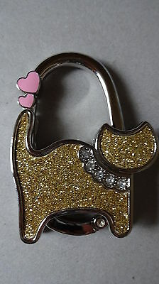Gold Cat With Two Pink Hearts Handbag Hanger Brand New