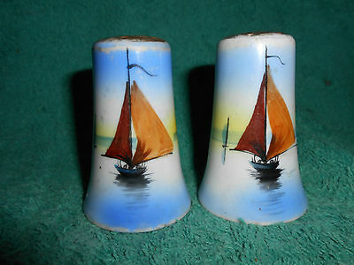 Vintage Pair of  Ceramic Sailboat Salt and Pepper Shakers from Japan