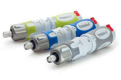 InsuJet needle-free injection system for insulin administration. No needle