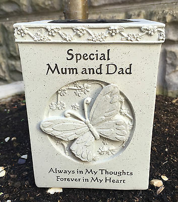 Special Mum & Dad Butterfly Graveside Memorial Rose Bowl Ornament Grave